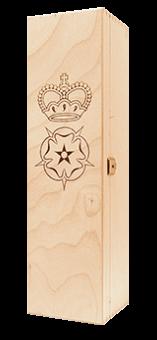Holzkiste mit eingebranntem Wappen für 1 Flasche
